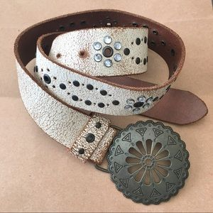 ALDO   Genuine Leather Belt Round Brass Buckle M